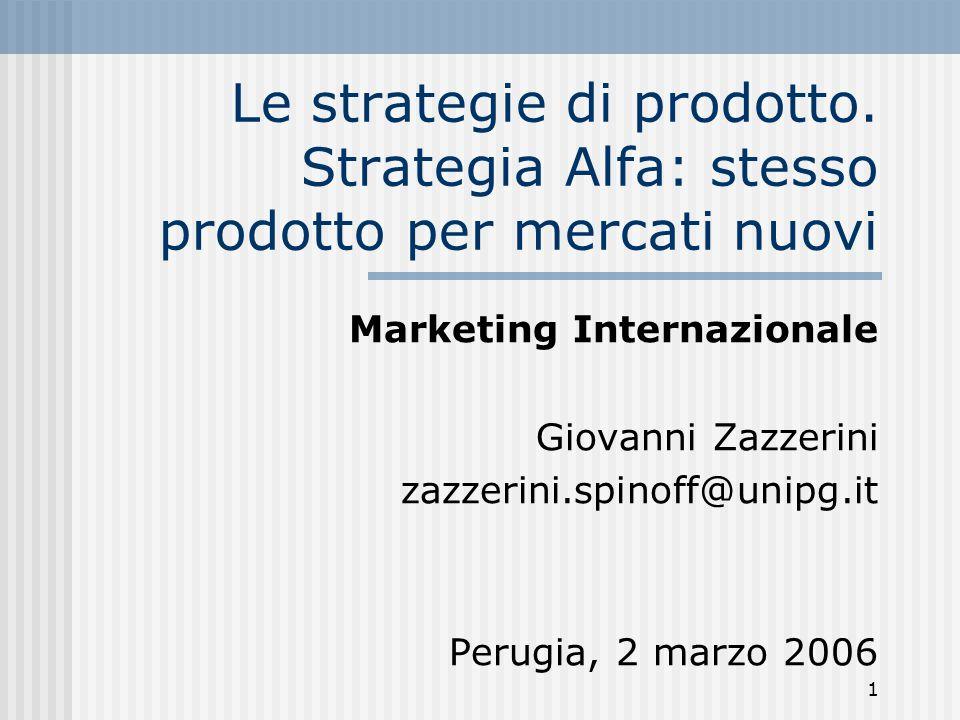 1 Le strategie di prodotto. Strategia Alfa: stesso prodotto per mercati nuovi Marketing Internazionale Giovanni Zazzerini zazzerini.spinoff@unipg.it P