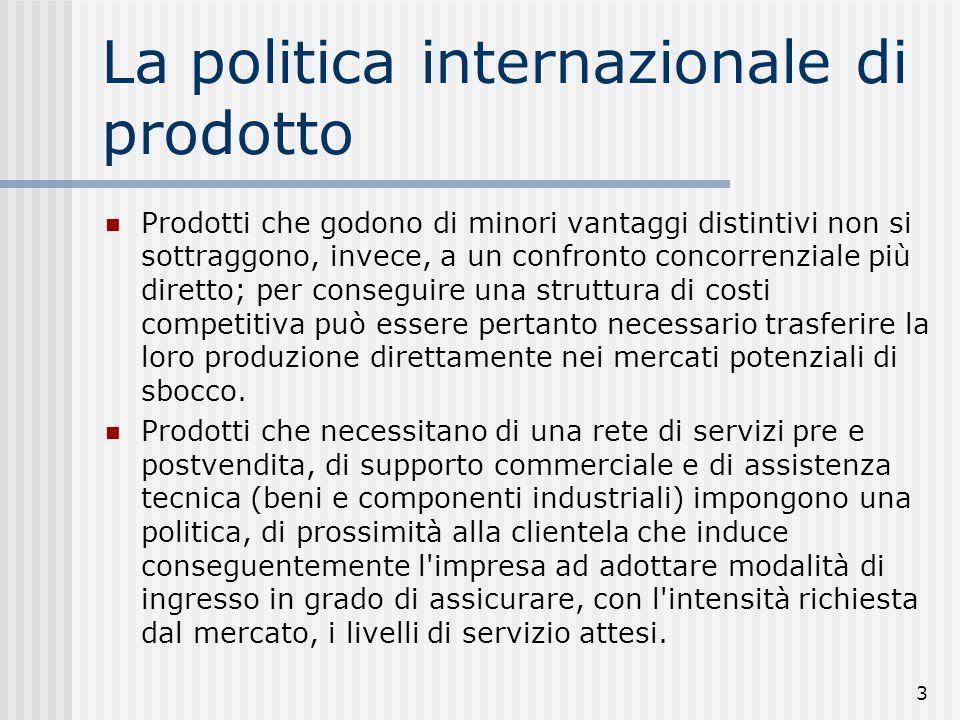 14 Quattro strategie prodotto/mercato Alfa (Stesso prodotto del mercato di origine): Il mkt di origine resta il più importante per l'impresa Beta (Prodotto adattato): L'imp.