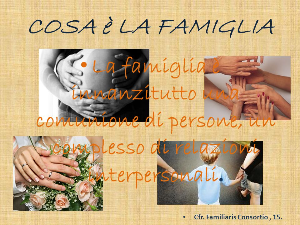 E allora possiamo riscoprire la bellezza di essere famiglia progetto di Dio all'interno del creato …