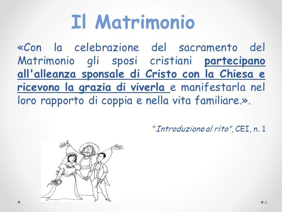 «Con la celebrazione del sacramento del Matrimonio gli sposi cristiani partecipano all'alleanza sponsale di Cristo con la Chiesa e ricevono la grazia