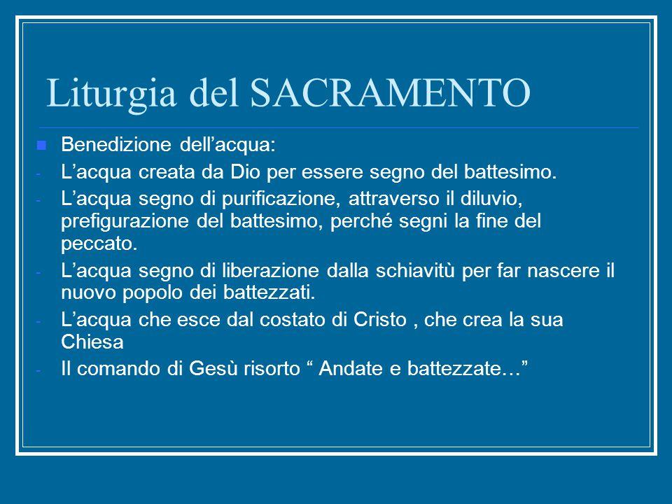 Liturgia del SACRAMENTO Benedizione dell'acqua: - L'acqua creata da Dio per essere segno del battesimo. - L'acqua segno di purificazione, attraverso i