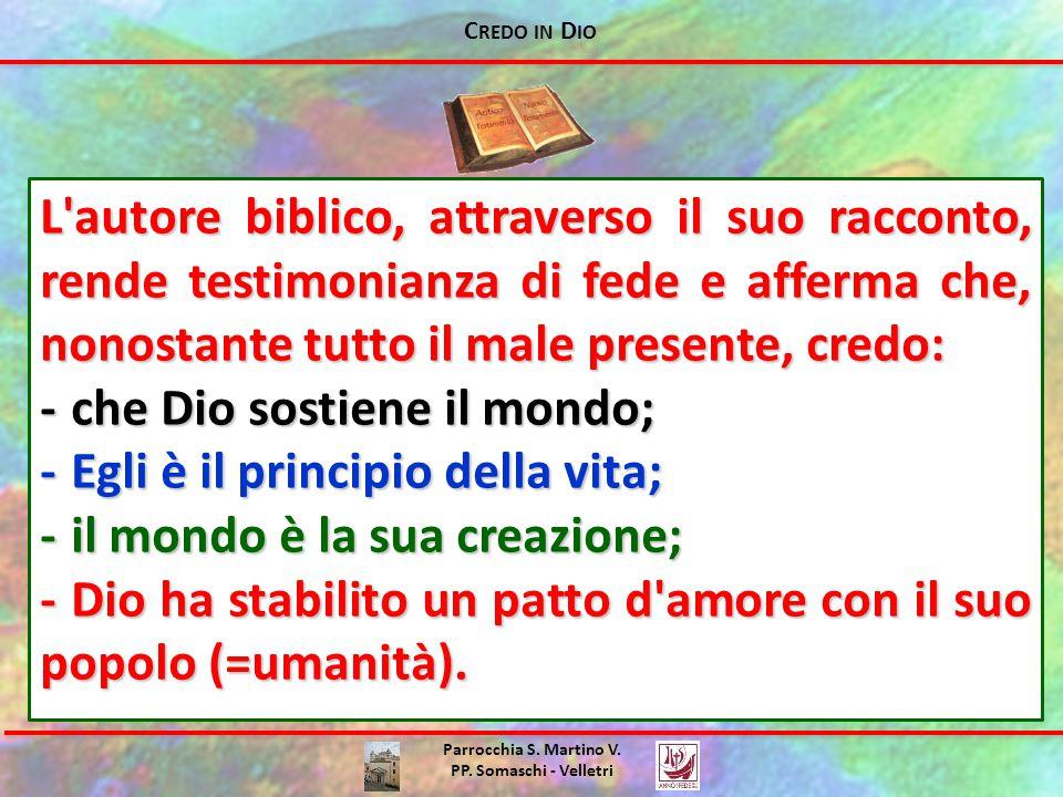 C REDO IN D IO Parrocchia S. Martino V. PP. Somaschi - Velletri L'autore biblico, attraverso il suo racconto, rende testimonianza di fede e afferma ch