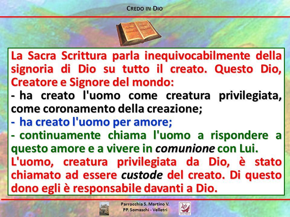 C REDO IN D IO Parrocchia S. Martino V. PP. Somaschi - Velletri La Sacra Scrittura parla inequivocabilmente della signoria di Dio su tutto il creato.