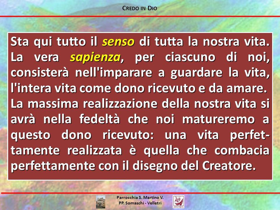 C REDO IN D IO Parrocchia S. Martino V. PP. Somaschi - Velletri Sta qui tutto il senso di tutta la nostra vita. La vera sapienza, per ciascuno di noi,