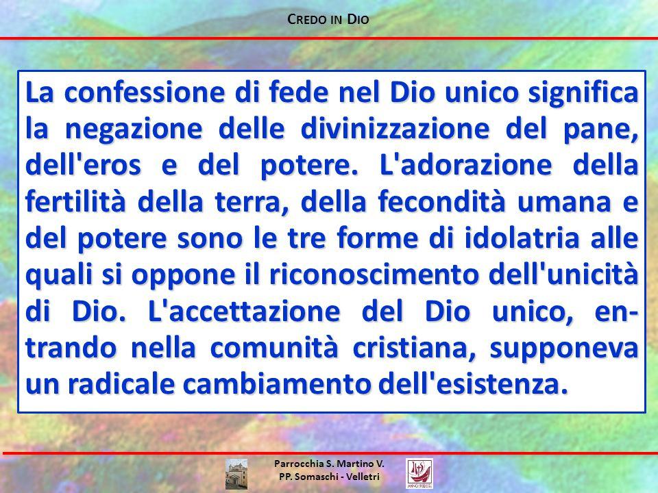 C REDO IN D IO Parrocchia S. Martino V. PP. Somaschi - Velletri La confessione di fede nel Dio unico significa la negazione delle divinizzazione del p