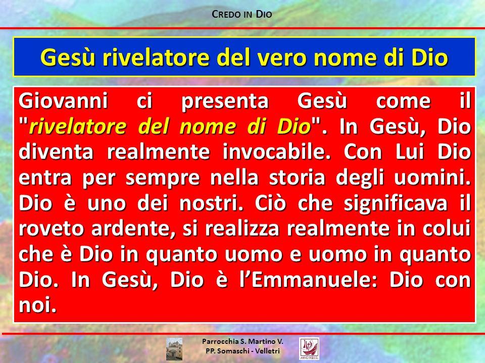 C REDO IN D IO Parrocchia S. Martino V. PP. Somaschi - Velletri Gesù rivelatore del vero nome di Dio Giovanni ci presenta Gesù come il