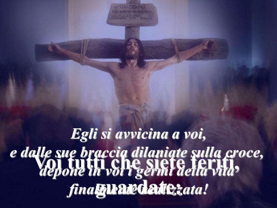 Egli si avvicina a voi, e dalle sue braccia dilaniate sulla croce, depone in voi i germi della vita finalmente realizzata! Voi tutti che siete feriti,
