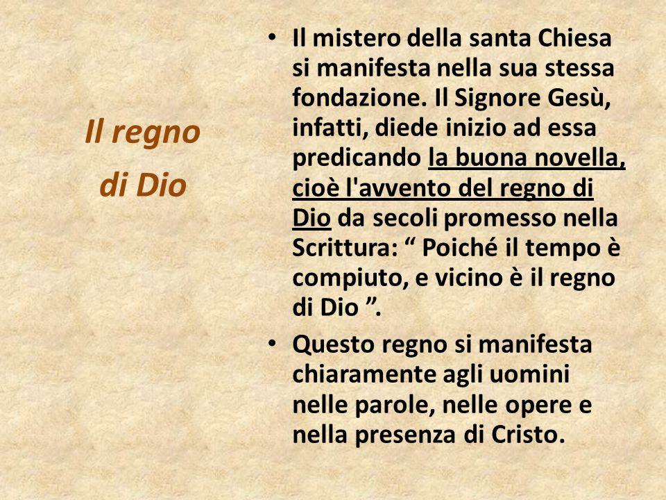 Il mistero della santa Chiesa si manifesta nella sua stessa fondazione. Il Signore Gesù, infatti, diede inizio ad essa predicando la buona novella, ci