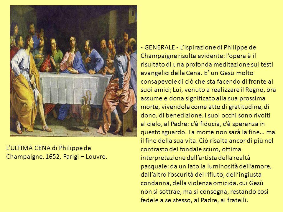 L'ULTIMA CENA di Philippe de Champaigne, 1652, Parigi – Louvre.