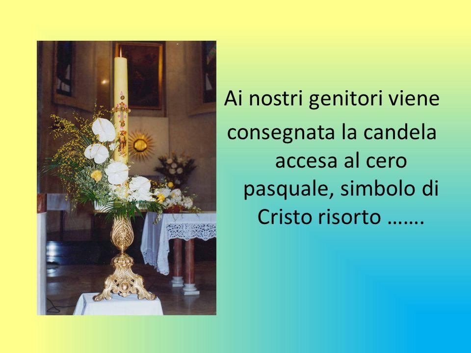 Ai nostri genitori viene consegnata la candela accesa al cero pasquale, simbolo di Cristo risorto …….