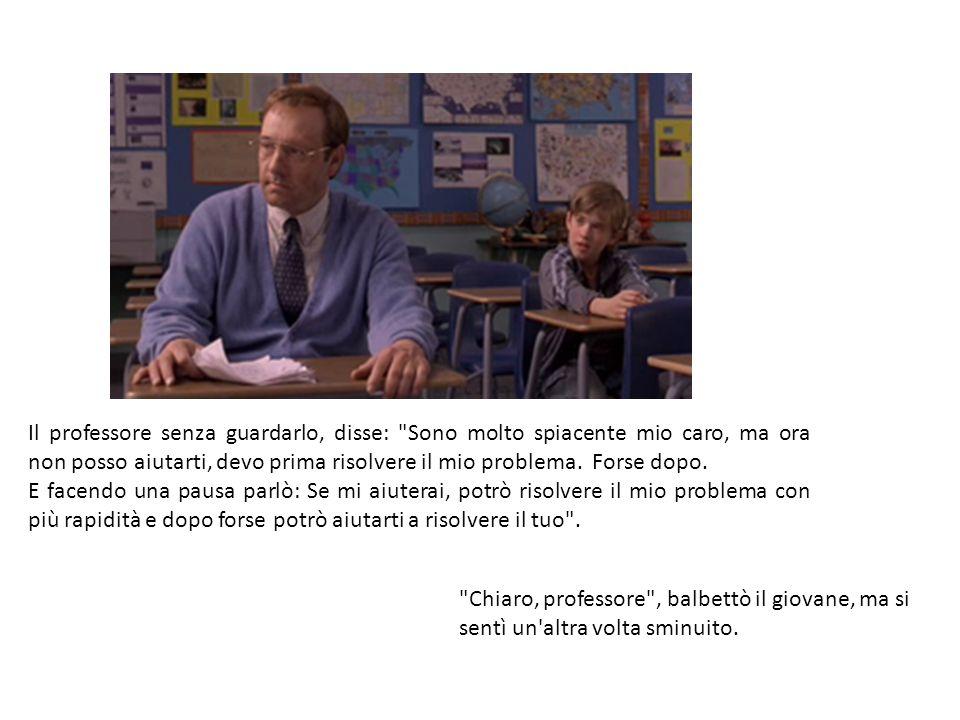 Il professore senza guardarlo, disse:
