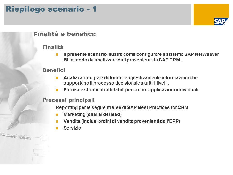 Riepilogo scenario - 1 Finalità Il presente scenario illustra come configurare il sistema SAP NetWeaver BI in modo da analizzare dati provenienti da SAP CRM.