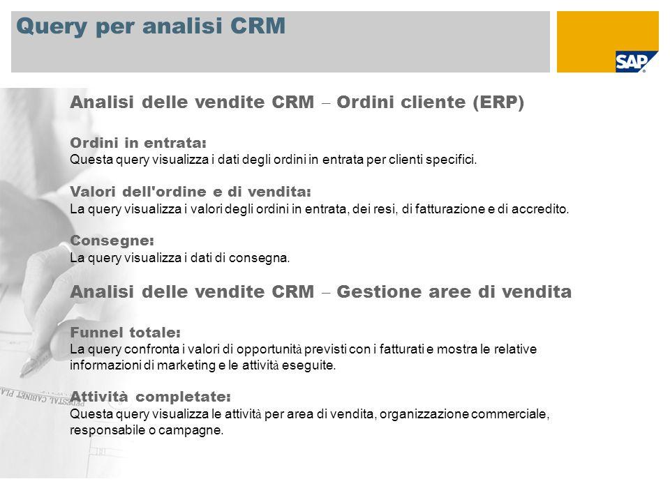 Query per analisi CRM Analisi delle vendite CRM – Ordini cliente (ERP) Ordini in entrata: Questa query visualizza i dati degli ordini in entrata per clienti specifici.