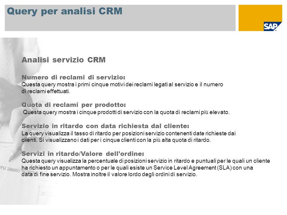 Query per analisi CRM Analisi servizio CRM Numero di reclami di servizio: Questa query mostra i primi cinque motivi dei reclami legati al servizio e il numero di reclami effettuati.