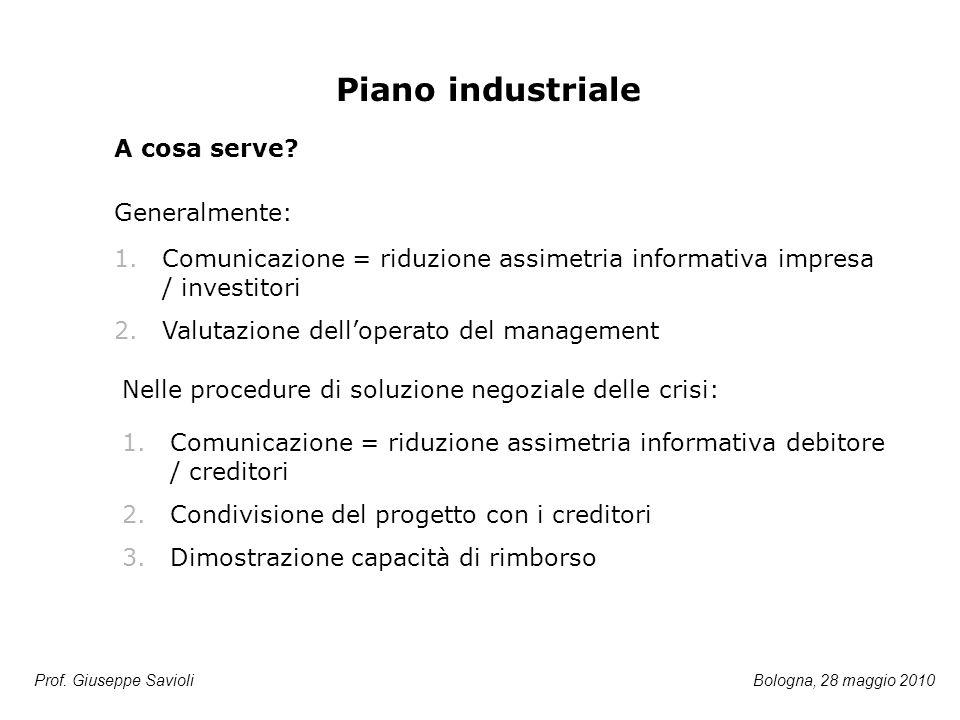 Prof. Giuseppe Savioli Piano industriale 1.Comunicazione = riduzione assimetria informativa impresa / investitori 2.Valutazione dell'operato del manag