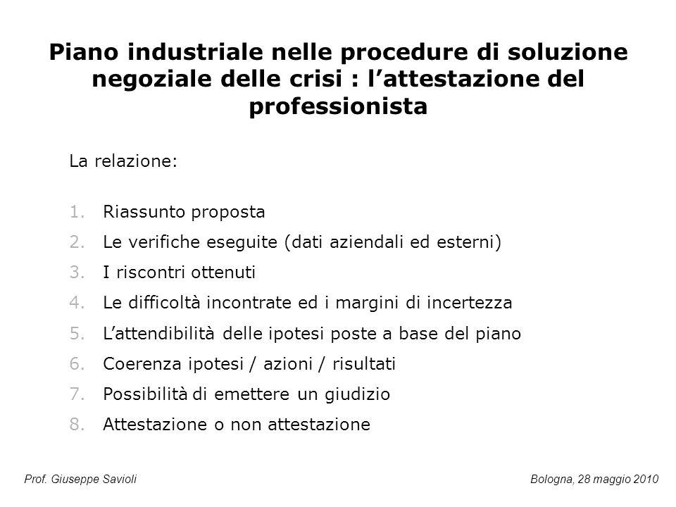 Prof. Giuseppe Savioli Piano industriale nelle procedure di soluzione negoziale delle crisi : l'attestazione del professionista 1.Riassunto proposta 2