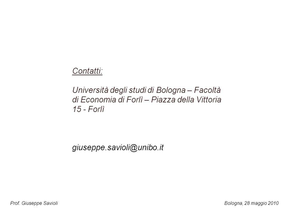 Prof. Giuseppe Savioli Contatti: Università degli studi di Bologna – Facoltà di Economia di Forlì – Piazza della Vittoria 15 - Forlì giuseppe.savioli@