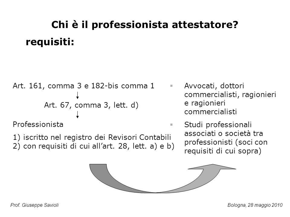 Prof. Giuseppe Savioli Chi è il professionista attestatore? requisiti: Art. 161, comma 3 e 182-bis comma 1 Art. 67, comma 3, lett. d) Professionista 1