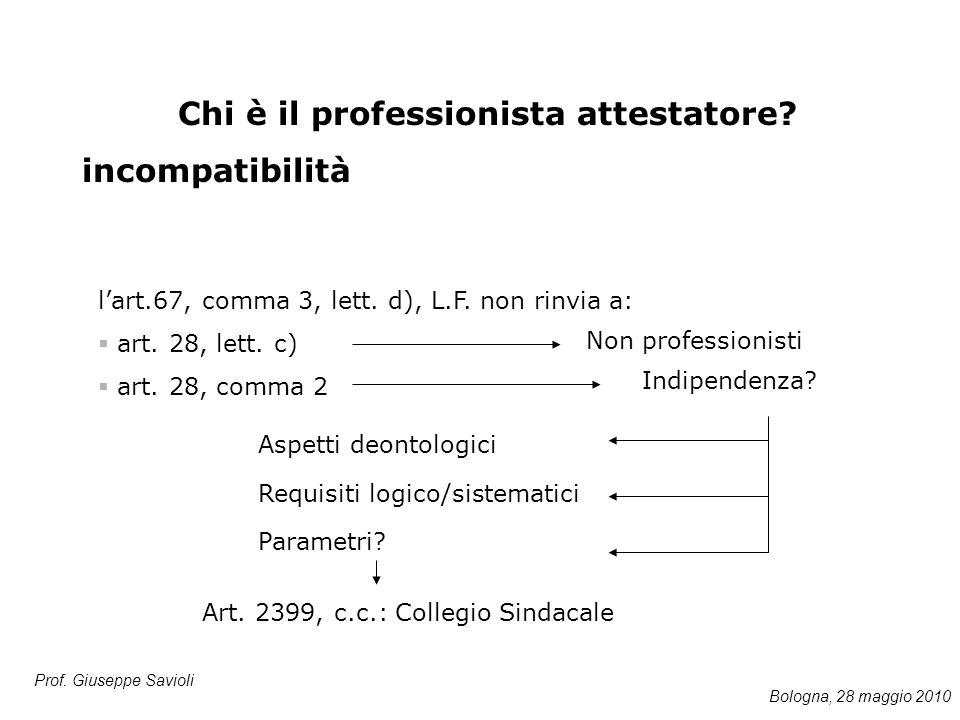 Prof. Giuseppe Savioli l'art.67, comma 3, lett. d), L.F. non rinvia a:  art. 28, lett. c)  art. 28, comma 2 Chi è il professionista attestatore? inc