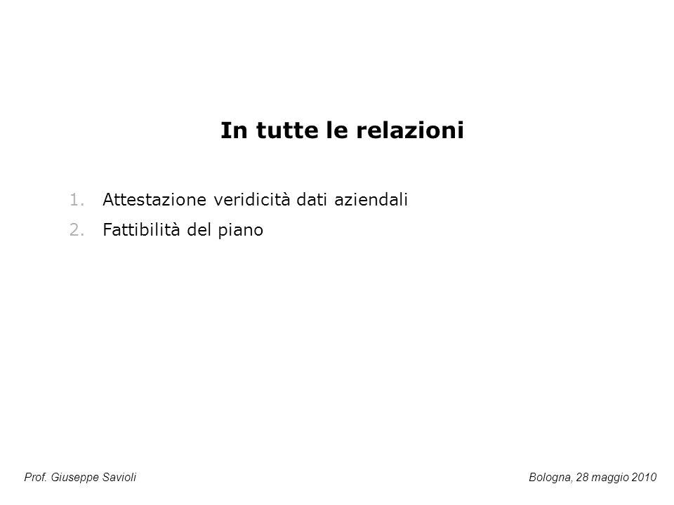 Prof. Giuseppe Savioli In tutte le relazioni 1.Attestazione veridicità dati aziendali 2.Fattibilità del piano Bologna, 28 maggio 2010