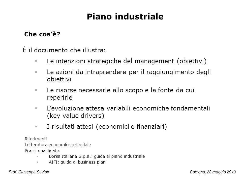 Prof. Giuseppe Savioli Piano industriale È il documento che illustra:  Le intenzioni strategiche del management (obiettivi)  Le azioni da intraprend