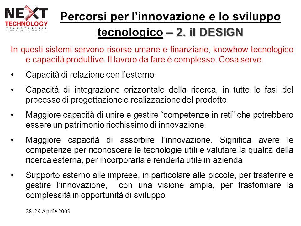 28, 29 Aprile 2009 – 2. il DESIGN Percorsi per l'innovazione e lo sviluppo tecnologico – 2.