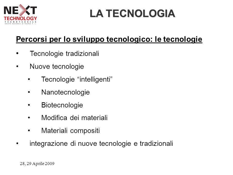 """28, 29 Aprile 2009 LA TECNOLOGIA Percorsi per lo sviluppo tecnologico: le tecnologie Tecnologie tradizionali Nuove tecnologie Tecnologie """"intelligenti"""