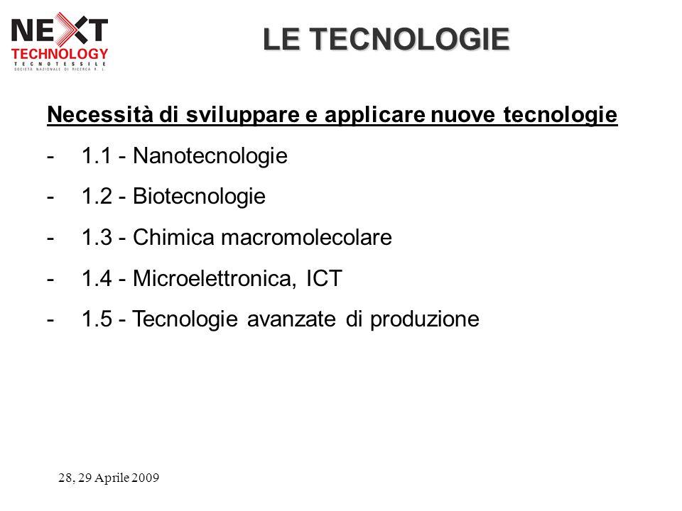 28, 29 Aprile 2009 LE TECNOLOGIE Necessità di sviluppare e applicare nuove tecnologie -1.1 - Nanotecnologie -1.2 - Biotecnologie -1.3 - Chimica macrom