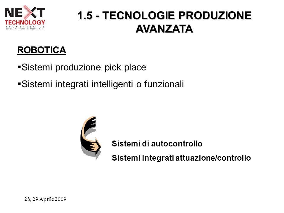 28, 29 Aprile 2009 1.5 - TECNOLOGIE PRODUZIONE AVANZATA ROBOTICA  Sistemi produzione pick place  Sistemi integrati intelligenti o funzionali Sistemi