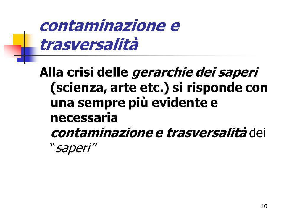 marcoguspini@tiscali.it10 contaminazione e trasversalità Alla crisi delle gerarchie dei saperi (scienza, arte etc.) si risponde con una sempre più evidente e necessaria contaminazione e trasversalità dei saperi