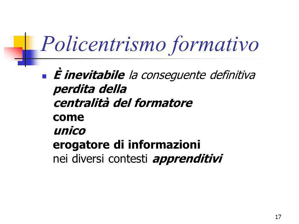 marcoguspini@tiscali.it17 Policentrismo formativo È inevitabile la conseguente definitiva perdita della centralità del formatore come unico erogatore di informazioni nei diversi contesti apprenditivi