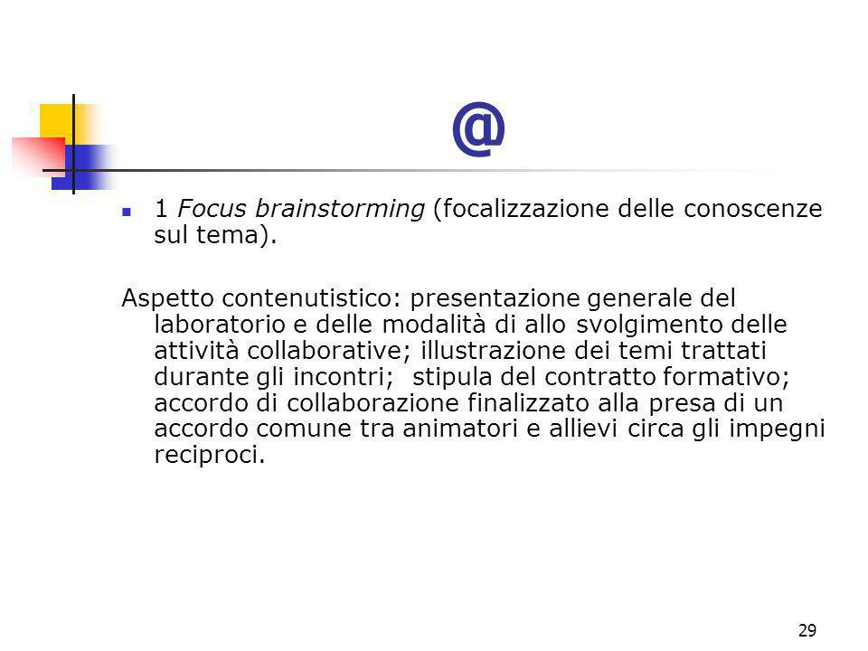 marcoguspini@tiscali.it29 @ 1 Focus brainstorming (focalizzazione delle conoscenze sul tema).