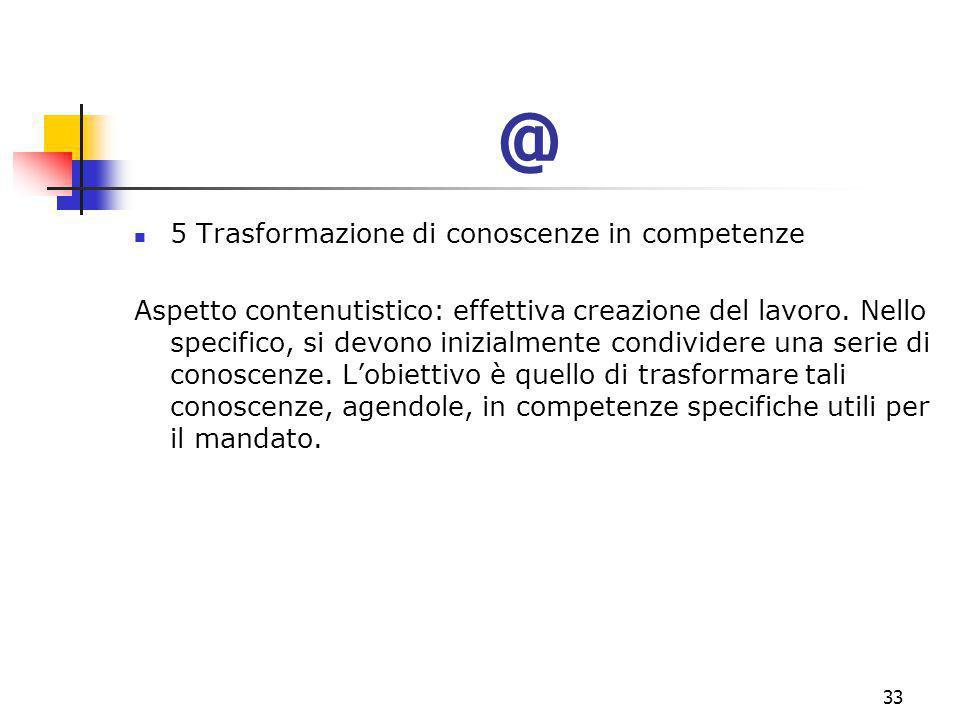 marcoguspini@tiscali.it33 @ 5 Trasformazione di conoscenze in competenze Aspetto contenutistico: effettiva creazione del lavoro.