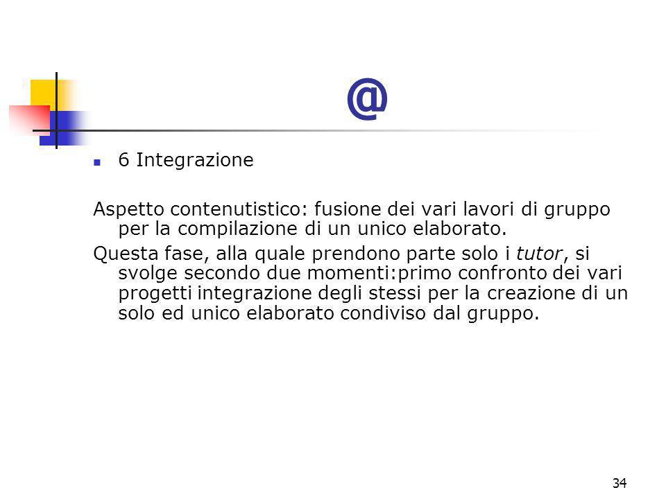 marcoguspini@tiscali.it34 @ 6 Integrazione Aspetto contenutistico: fusione dei vari lavori di gruppo per la compilazione di un unico elaborato.
