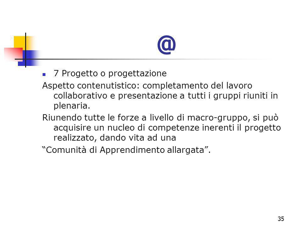 marcoguspini@tiscali.it35 @ 7 Progetto o progettazione Aspetto contenutistico: completamento del lavoro collaborativo e presentazione a tutti i gruppi riuniti in plenaria.