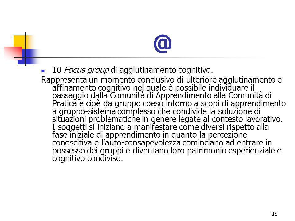 marcoguspini@tiscali.it38 @ 10 Focus group di agglutinamento cognitivo.