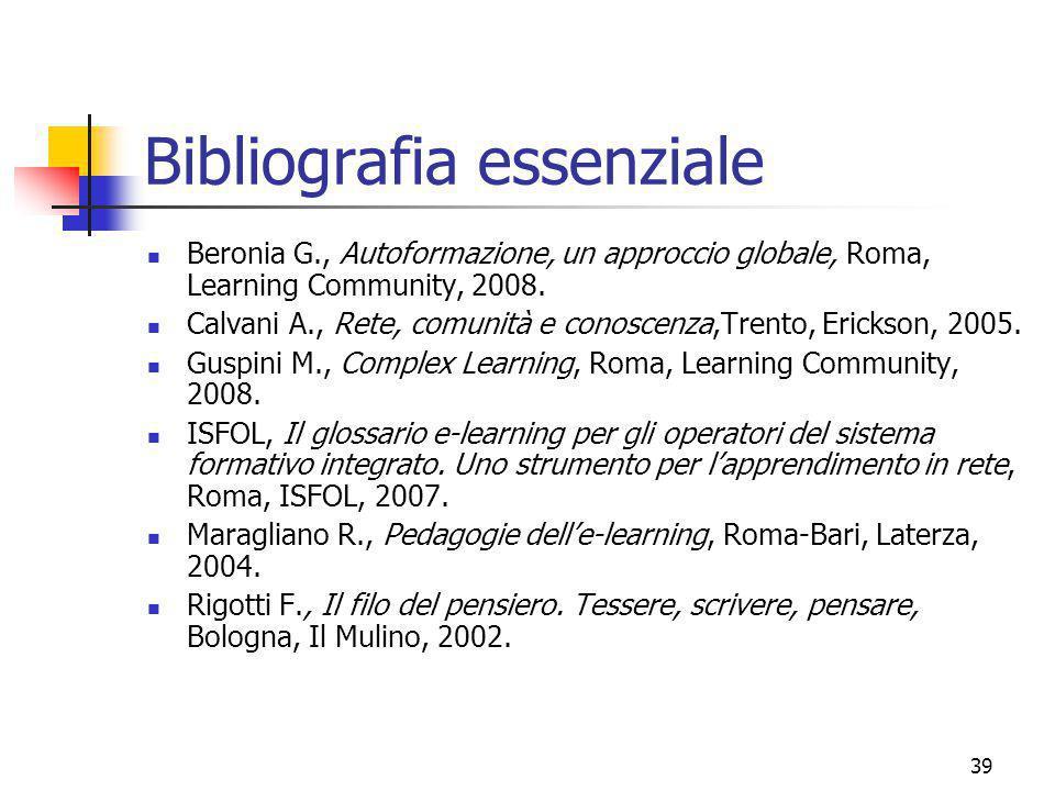 marcoguspini@tiscali.it39 Bibliografia essenziale Beronia G., Autoformazione, un approccio globale, Roma, Learning Community, 2008.