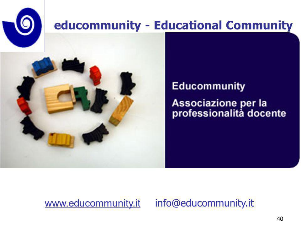 marcoguspini@tiscali.it40 www.educommunity.it info@educommunity.it educommunity - Educational Community
