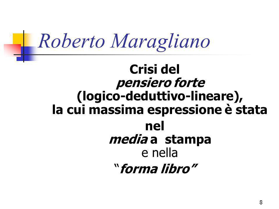 marcoguspini@tiscali.it8 Roberto Maragliano Crisi del pensiero forte (logico-deduttivo-lineare), la cui massima espressione è stata nel media a stampa e nella forma libro