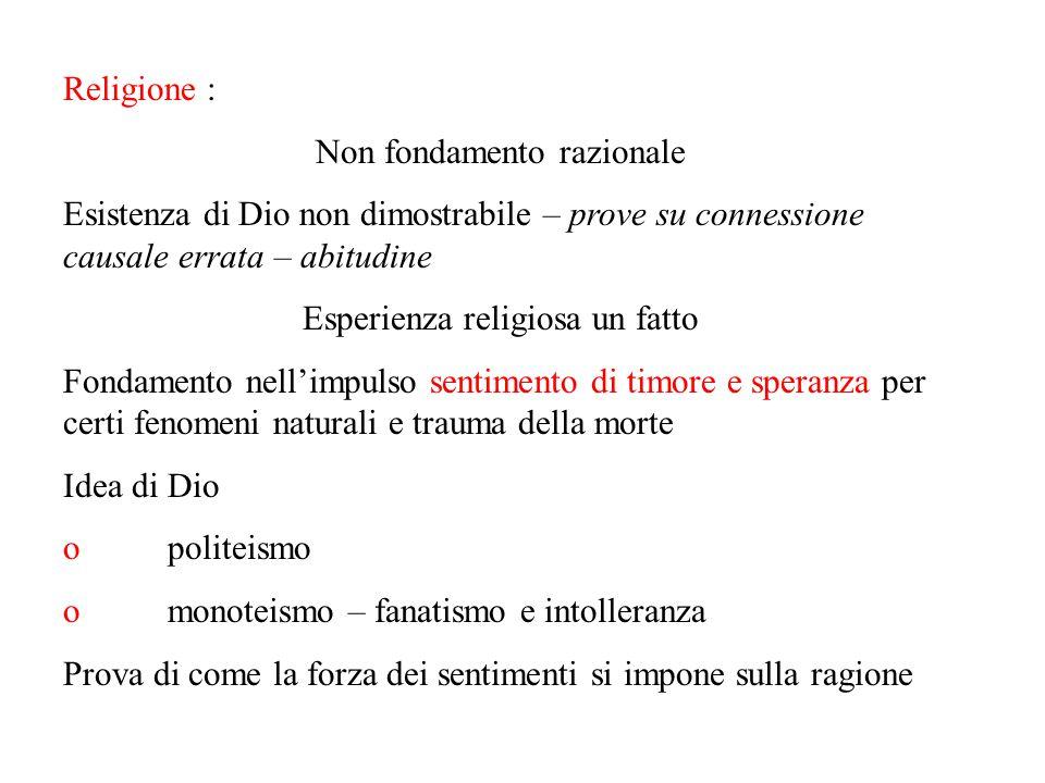 Religione : Non fondamento razionale Esistenza di Dio non dimostrabile – prove su connessione causale errata – abitudine Esperienza religiosa un fatto