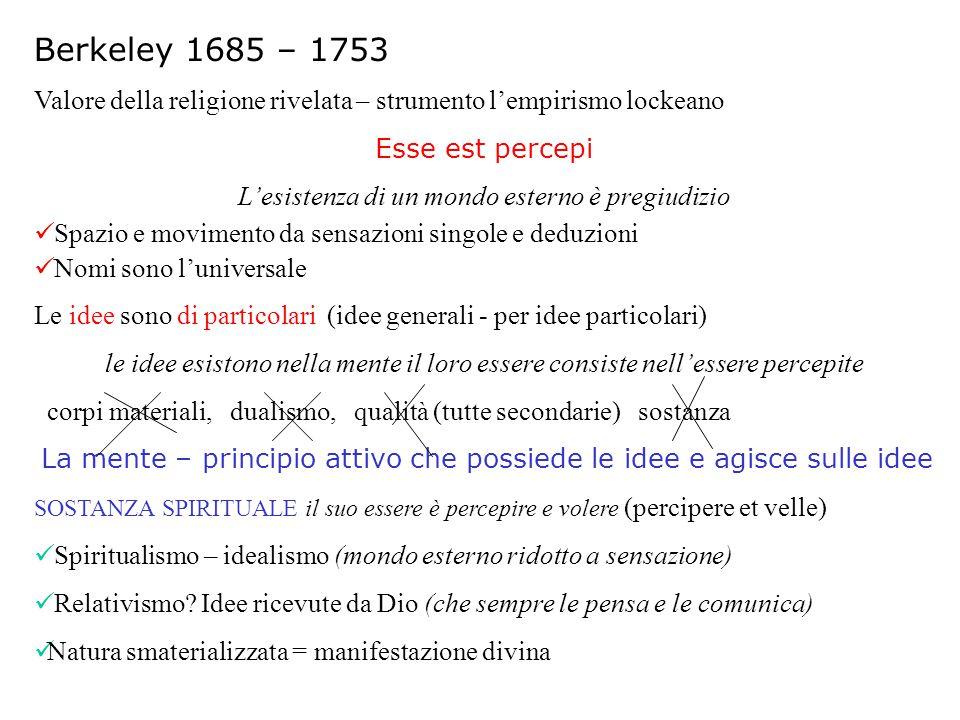 Berkeley 1685 – 1753 Valore della religione rivelata – strumento l'empirismo lockeano Esse est percepi L'esistenza di un mondo esterno è pregiudizio S