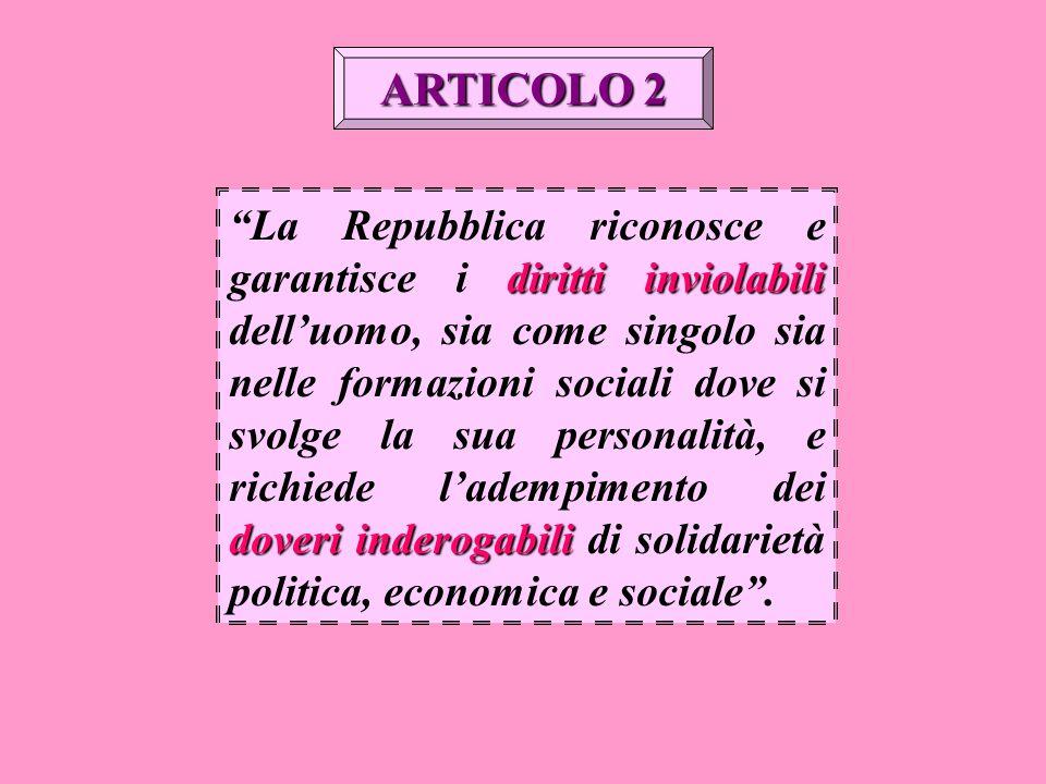 """diritti inviolabili doveri inderogabili """"La Repubblica riconosce e garantisce i diritti inviolabili dell'uomo, sia come singolo sia nelle formazioni s"""