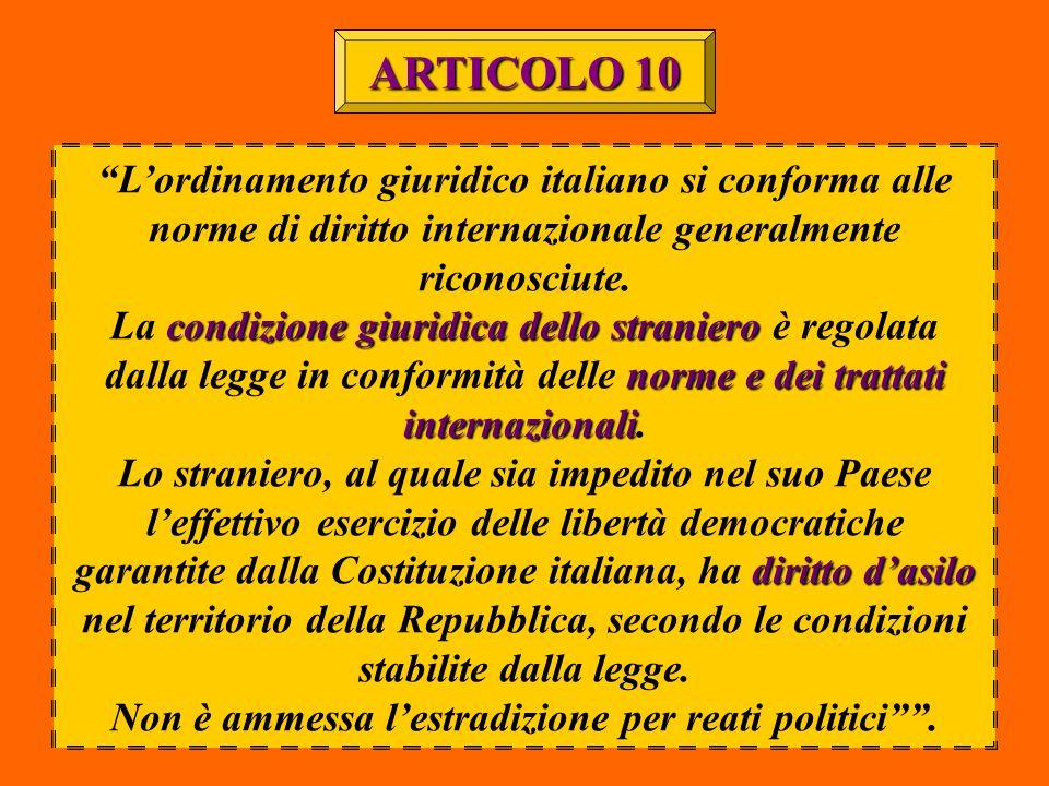 """""""L'ordinamento giuridico italiano si conforma alle norme di diritto internazionale generalmente riconosciute. condizione giuridica dello straniero nor"""