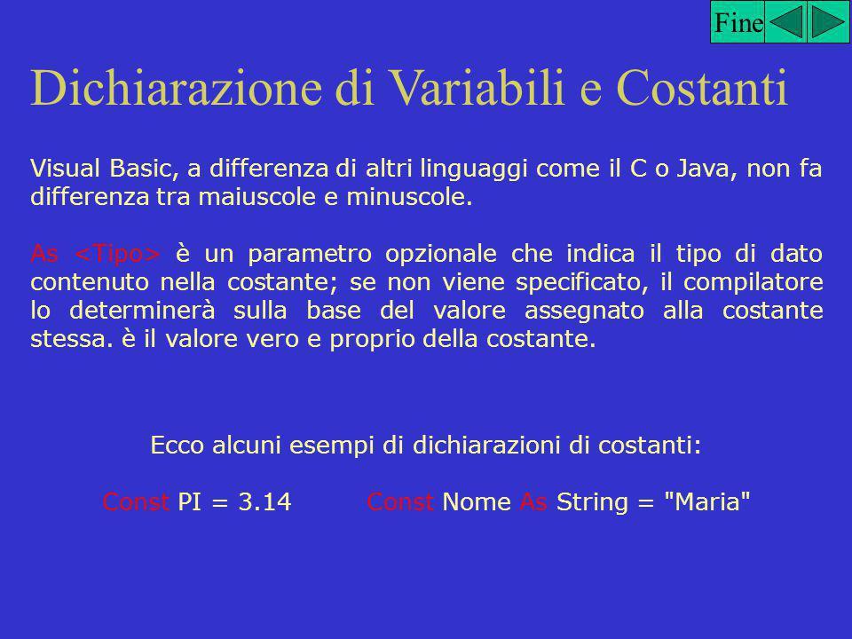 Dichiarazione di Variabili e Costanti Fine Analizziamo la dichiarazioni di costanti e variabili in VB.