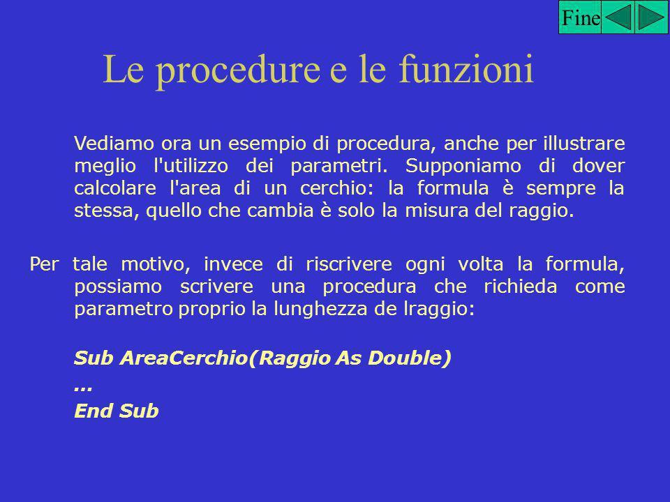 Le procedure e le funzioni Tutte le dichiarazioni di procedura iniziano con la parole chiave Sub.