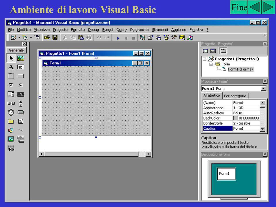 Realizzazione di un progetto La realizzazione di un progetto in Visual Basic è suddivisa in tre fasi: 1.Creazione dell'interfaccia utente impiegando gli oggetti di Visual Basic 2.Impostazione delle proprietà degli oggetti che costituiscono l'interfaccia utente 3.Scrittura del codice di programmazione per uno o più oggetti dell'interfaccia utente Fine