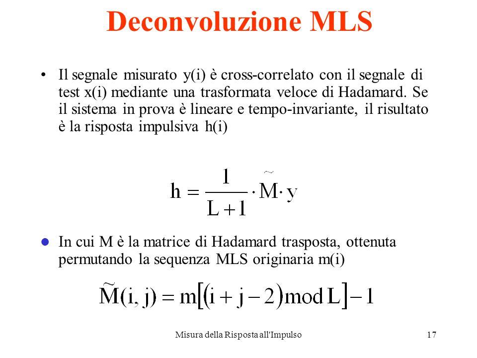 Misura della Risposta all Impulso16 Il metodo MLS x(t) è un segnale periodico binario, ottenuto mediante uno shift-register , configurato per la massima lunghezza del periodo di ripetizione 19 febbraio 2014