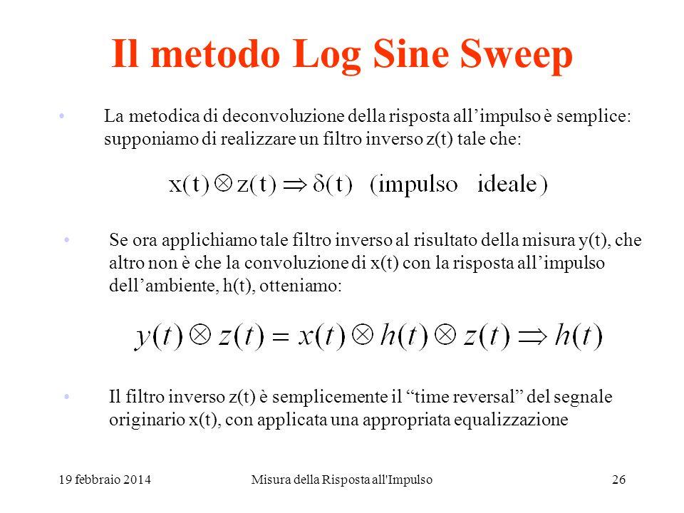 Misura della Risposta all'Impulso25 Il metodo Exp. Sine Sweep (ESS) x(t) è un segnale sinusoidale a frequenza variabile, con variazione esponenziale d