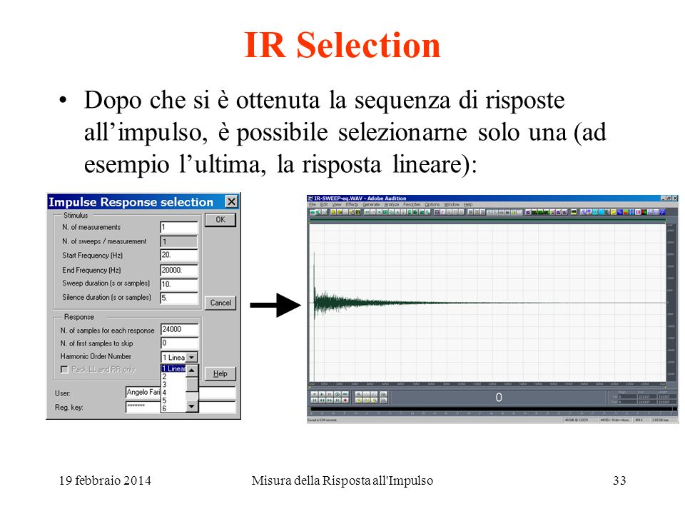 Misura della Risposta all'Impulso32 Risultato della deconvoluzione L'ultima risposta impulsiva è quella lineare, le precedenti sono i prodotti di dist