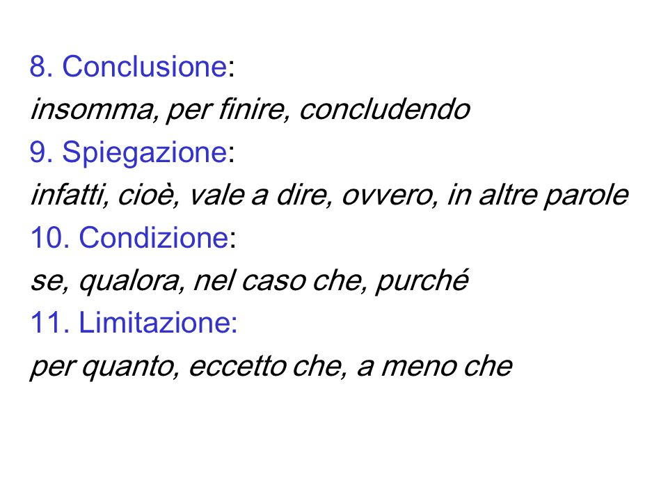 8.Conclusione: insomma, per finire, concludendo 9.